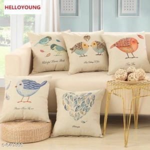 Home Artistic Jute Printed Cushion Covers Set