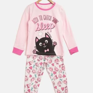 Girl's Fancy Cotton Blend Printed Night Suits