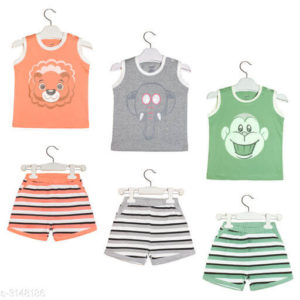 Trendy Cotton Knitted Kid's Clothing Set (Pack of 3)