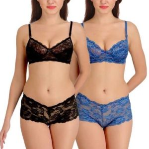 Comfy Women's Net Lace Lingerie Set (Pack Of 2)