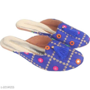Synthetic Embroidered Slippers