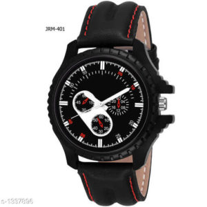 Mens Black Synthetic Leather Analog Watches
