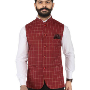Men's Cotton Viscose Blend Printed Ethnic Jackets