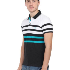 Hyss Men's Casual Multicolor Striped Polo Half sleeve T-Shirt