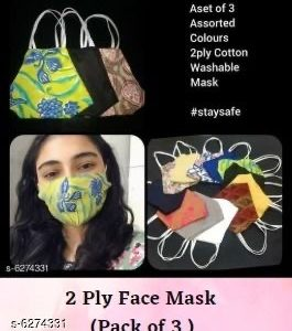 2 Ply Face mask washable and Re-usable set of 3