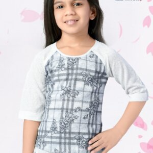 3/4 sleeves girls printed top
