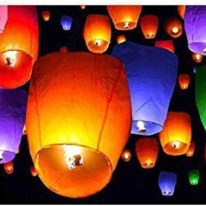 The Treasure Box Sky Lanterns with Fuel Wax Candle – (Pack of 10 )