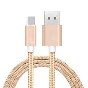 Quantum S3 Ultra Fast Charging Support High Speed USB Data Cable 1.5 Mtrs.   Tough & Durable Nylon Braided (Gold)